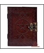 Leather Journal Book Pentagram Embossed Handmade Brown Pentacle Wicca Pa... - $29.88