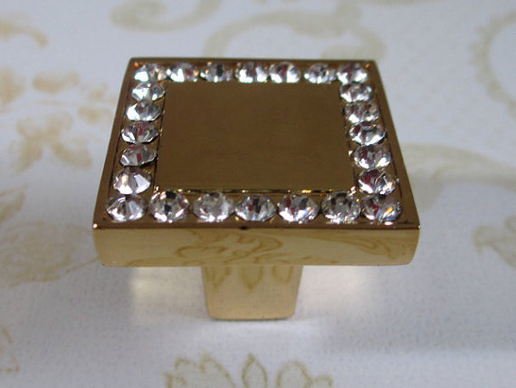 Glass Dresser Knobs Crystal Cabinet Knobs Pulls Square Gold Clear Rhinestone