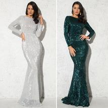 Elegant O Neck Long Sleeve Sparkle Sequin Floor Length Stretchy Bodycon Party Dr image 3