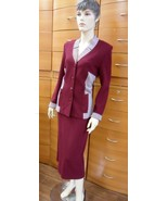 SKIRT SUIT CAREER CLASSIC MADE IN EUROPE WOOL JERSEY ELEGANT BURGUNFY PL... - $196.00