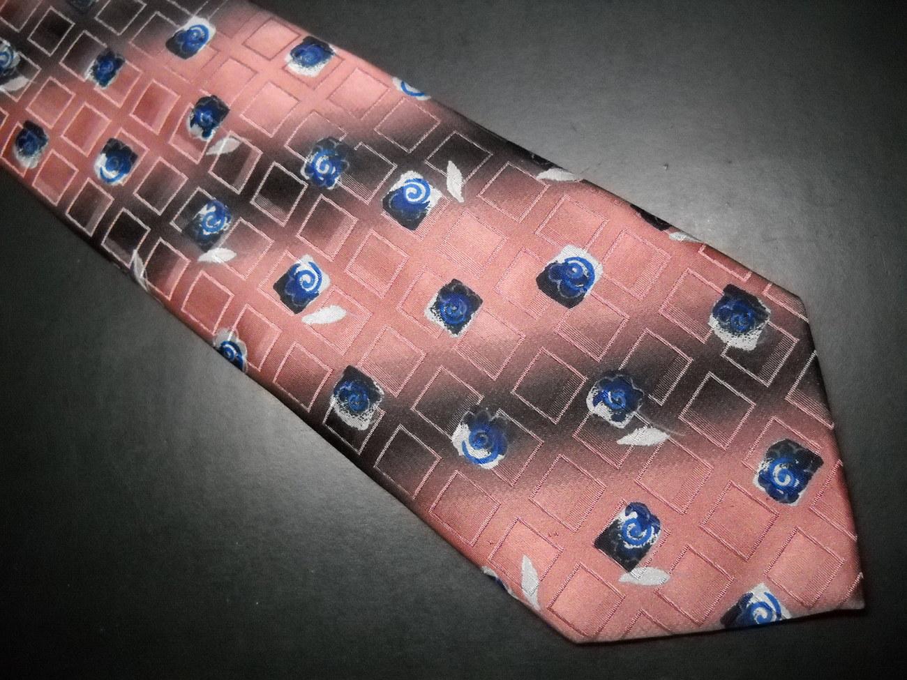 Ermenegildo Zegna Disegno Esclusivo Neck Tie Broad Band Stripes with Blue Roses image 2