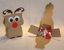 10 Rudolph Reindeer Party Favors Christmas Favor Box **Kit** image 2