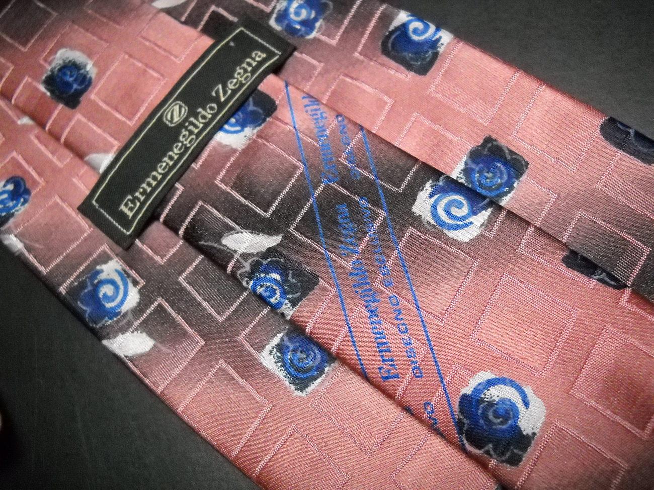 Ermenegildo Zegna Disegno Esclusivo Neck Tie Broad Band Stripes with Blue Roses image 4