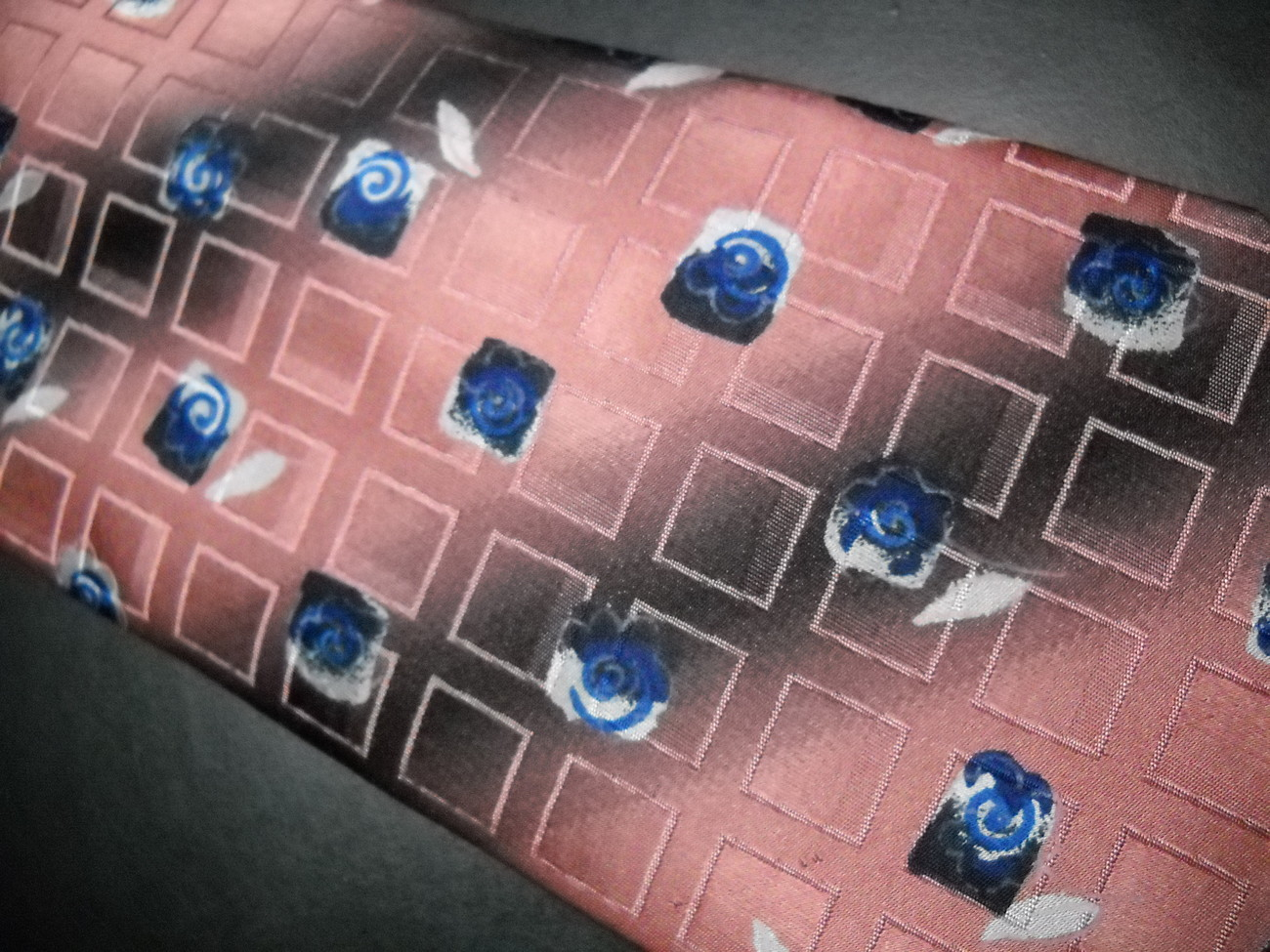 Ermenegildo Zegna Disegno Esclusivo Neck Tie Broad Band Stripes with Blue Roses image 6