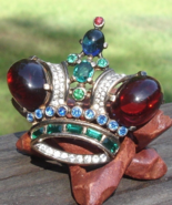 Vintage Crown Trifari Sterling Crown Brooch, Alfred Philippe, Jelly, PAT... - $2,885.00