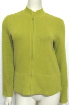 Eileen Fisher Lime Green Zip Up Cardigan S Sweater Cotton Women 4 6 Knit - $27.67