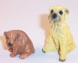 Lot of 2 Small Chinese Shar-Pei Sharpei Dog Resin Figurines - $11.99