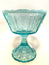 Fenton Blue Opalescent Glass Footed Compote Paneled Daisy Candy Dish No ... - $11.88
