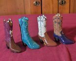 Primary image for 4 Miniature Poly-Resin Western Cowboy Boots Orrnamental Decor