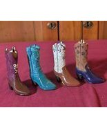 4 Miniature Poly-Resin Western Cowboy Boots Orrnamental Decor - $12.99