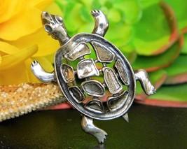 Vintage Turtle Tortoise Brooch Pin Sterling Silver JewelArt Figural - $22.95