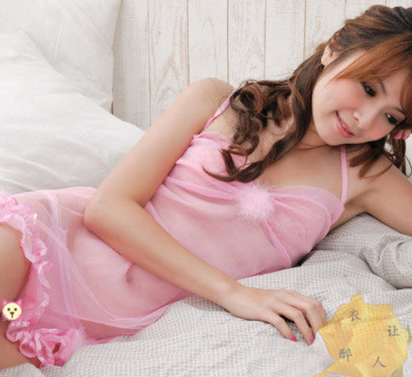 8024 Stunning neck halter dress w low bust, g-string, FS, fits to s/m/l, pink image 2