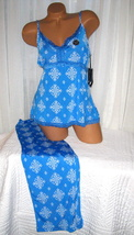 Plus Size Stretch Cami Top Pajama Set 1X 2X 3X Blue White Print Soft - $28.99