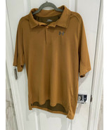 UNDER ARMOUR Men's Bamboo Charcoal Brown With Gray Polo Shirt Size Large - $13.45
