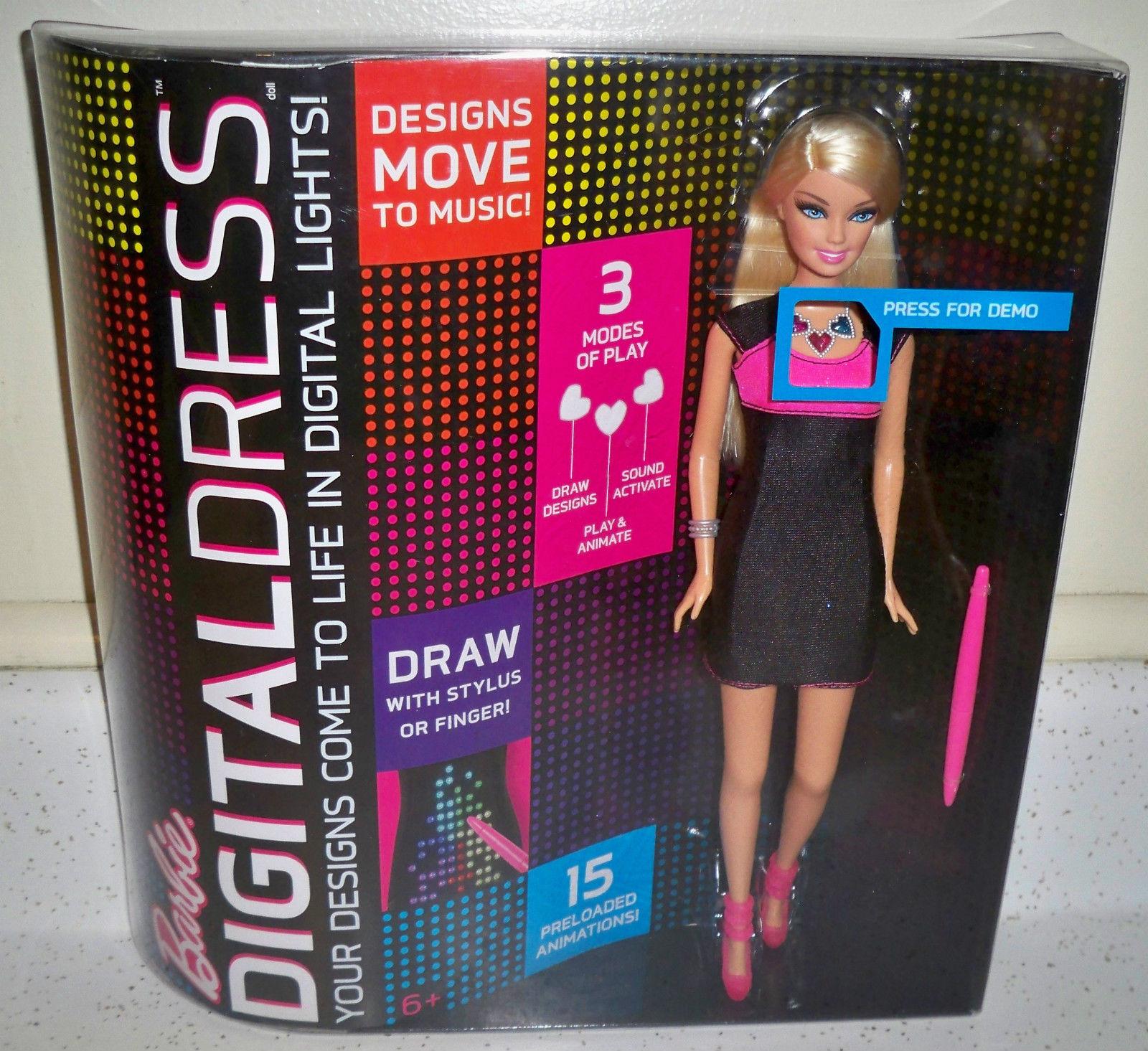 BARBIE Doll DIGITAL DRESS Doll Blonde Pink & Black Dress New