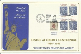 STATUE OF LIBERTY CENTENNIAL #2224 USPS CARD LIBERTY ISLAND, NY/NJ 7/4/1986 - $5.30
