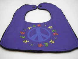 Baby Bib Dark Blue Bib w/ Medium Blue Peace Sign Dancing Bears Grateful ... - $12.99