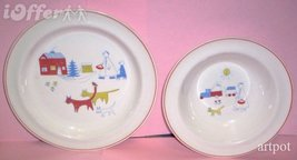 SCANDINAVIAN(FINNISH) MODERN-ARABIA CHILDREN AND CATS BOWL AND PLATE  - $44.95
