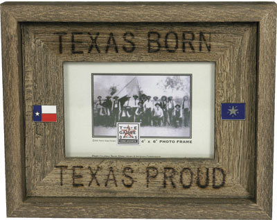 Rustic Texas Born Country Barnwood Picture Frame 4x6