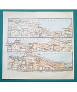 1897 MAP Baedeker - UNITED KINGDOM Wales Bristol Channel Shore Ilfracomb... - $7.65