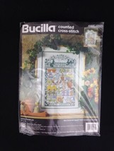 Garden Sampler 41037 Nancy Rossi 1995 Bucilla Counted Cross Stitch Pattern Kit  - $37.31