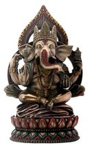 Seated Ganesha on Lotus Collectible Hinduism Sculpture - $47.99