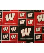 "UNIVERSITY OF WISCONSIN BADGERS COTTON FABRIC 21-1/2"" x 21-1/2"" Free Shi... - $24.99"