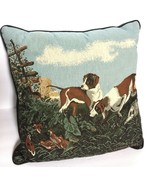 Currier Ives 19th Century Hunting Dogs Tapestry Square Pillow Cushion 16... - $89.99