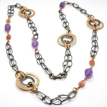 Necklace Silver 925, Burnished and Pink, Circles, Amethyst, Agate, Length 100 CM image 1