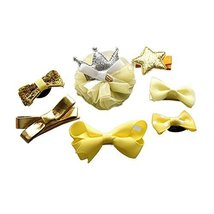 Set of 7 Stylish Little Girls Small Hair Pins Hair Clip with Cloth Hair Accessor