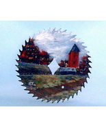 Hand Painted Saw Blade Fall Old Farm Silos Scene Custom Order Wall Decor - $35.00
