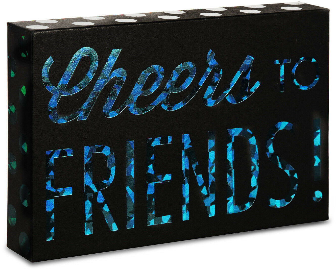 "Primary image for Cheers To Friends Plaque New 4"" x 6"" Hang or Stand Black Blue"