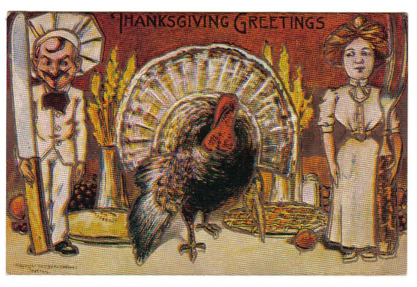 Vintage Thanksgiving Postcard Artist Signed Robbins Fantasy