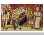 Vintage thanksgiving postcard   chef man with giant knife   woman with giant fork   turkey  in middle thumb155 crop