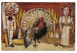 Vintage Thanksgiving Postcard Artist Signed Robbins Fantasy image 1