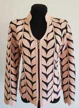 V Neck Light Pink Genuine Leather Leaf Jacket Womens All Sizes Zipper Short D7 - $115.00