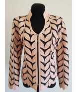 V Neck Light Pink Genuine Leather Leaf Jacket Womens All Sizes Zipper Sh... - $150.00