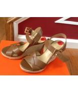 Michael Kors Brown Leather Gold Logo Buckle Platform Sandal Shoes Size 6... - $88.11
