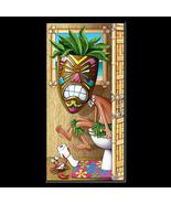 Funny Luau TIKI HEAD MASK on POTTY Bathroom Door Cover Birthday Party De... - $7.32