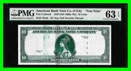 Specimen Test Note 1929 $10 Denom. American Bank Note Co. PMG 63EPQ Unci... - $184.29