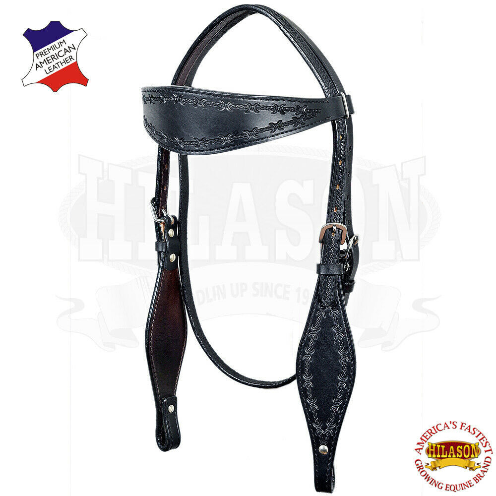 Western Horse Headstall Tack Bridle American Leather Barb Wire Hilason U-K-HS - $59.39