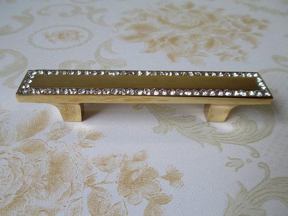 "3.75"" Dresser Pulls Drawer Pull Handles Knob Gold Crystal Kitchen Cabinet Handle"