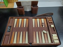 Reiss Travel Backgammon Set - 9 x 7 Inch - Vinyl case with zipper and st... - $18.28