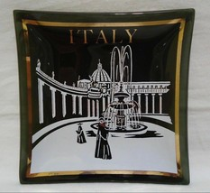 Houze Art Italy Ashtray Glass Dish Vatican Fountain Square Vintage 1960s - $11.99