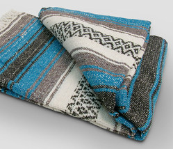#11 Turquoise Mexican Falsa Blanket Great Beach Picnic Yoga Mat Sarape B... - $21.17 CAD