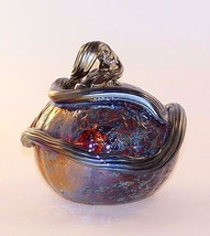 "5.5"" European Art Glass ""Cinder"" Halloween Pumpkin Silver Nitrate Handblown - $48.02"