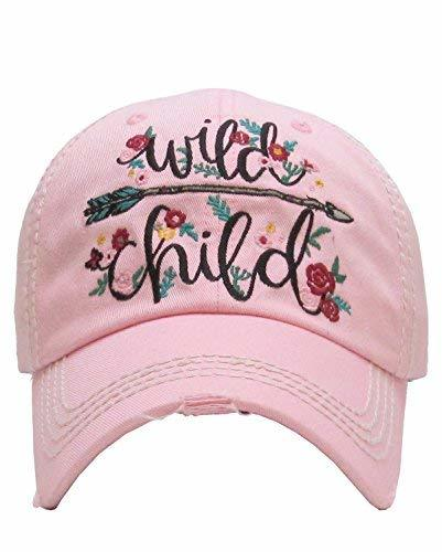 Scarlett's Bags Distressed Embroidered Wild Child Flower Baseball Hat (Pink)