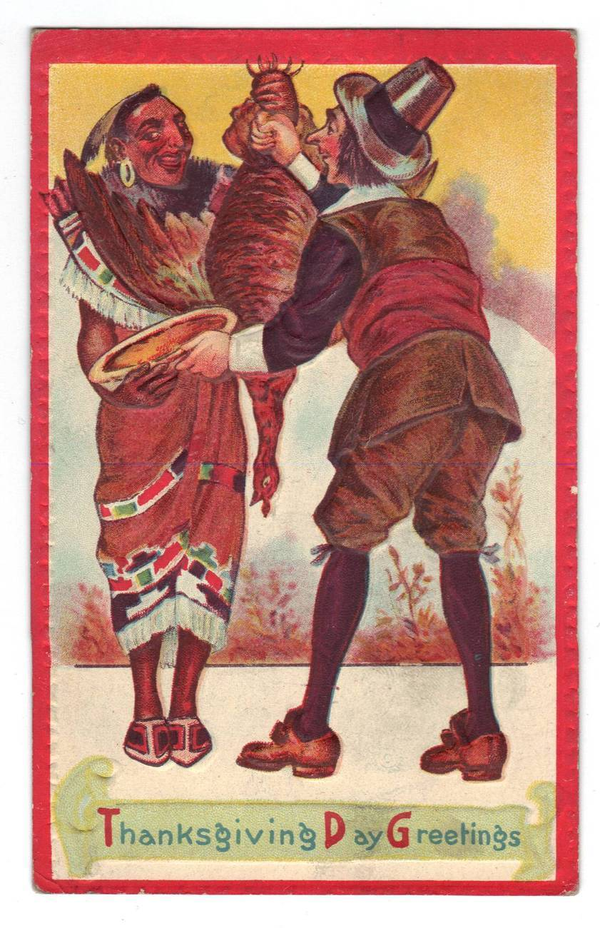 Primary image for Vintage Thanksgiving Postcard Indian Pilgrim - Series 1000