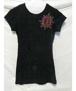 In Vein Graphic Ladies Med Shirt Top Studded Silver Glitter Sun Short Sl... - $12.99