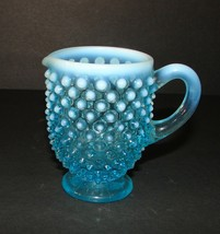 Vintage Fenton Art Hobnail Blue Opalescent Glass Creamer 3 Inch - $11.87